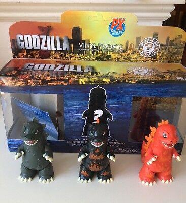 FUNKO MYSTERY MINI GODZILLA VINYL 3 inch FIGURE 3 pack PX Previews Exclusive