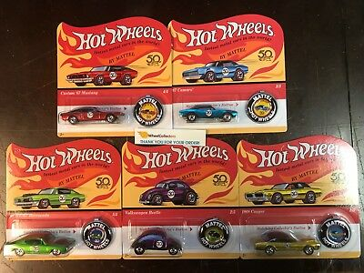 5 Car Set  50th Anniversary Redline Button   2018 Hot Wheels Camaro Mustang