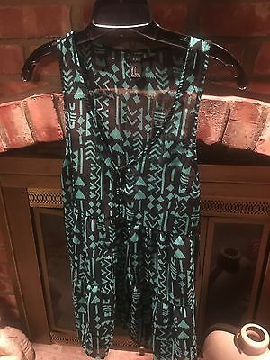 forever 21 tank top size small green black aztec tribal Womens