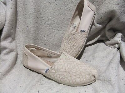 TOMS Womens Beige Canvas - Fabric Print Loafers Flats Slip On Shoes - Size 10