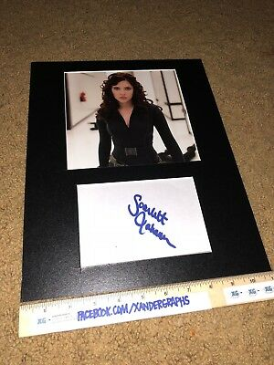 SCARLETT JOHANSSON SIGNED AUTOGRAPHED INDEX CARD MATTED 11X14 PHOTO DISPLAY-COA