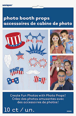 Patriotic 4th of July Accessories 10pc 10 Photo Booth Props Red White Blue