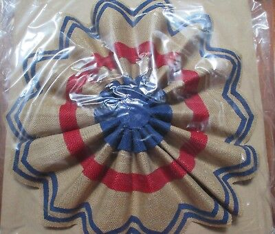3 POTTERY BARN FOURTH OF JULY 16 LIBERTY OUTDOOR BURLAP STAR NEW IN PACKAGE
