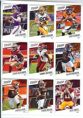 2018 PANINI PRESTIGE FOOTBALL RETAIL ONLY RELEASE BASE CARD YOU PICK PLAYER