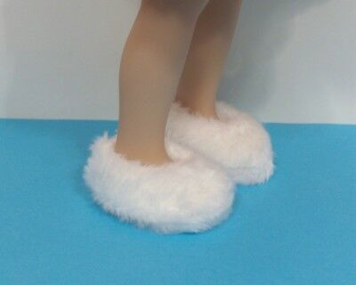 WHITE Fuzzy Slippers Doll Shoes For Dianna Effner 13 Vinyl Little Darling Debs