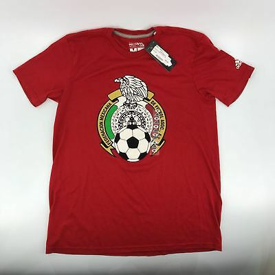 Mens Adidas Red Mexico Futbol Soccer Team Gift T-Shirt Tee Russia World Cup
