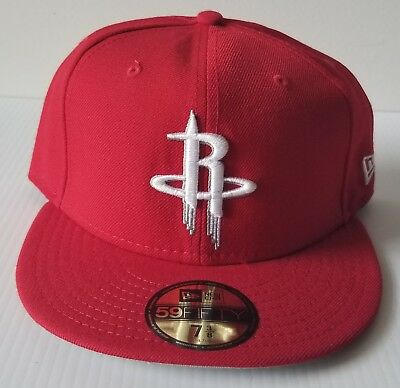 New Era Houston Rockets Solid Red 59Fifty Flat Bill 5950 Fitted Cap NBA Hat