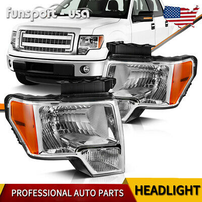 For 2010-2014 2013 Ford F-150 F150 Replacement Chrome Headlights Pair Left-Right