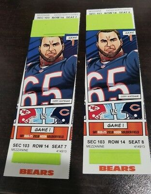 2 Chicago Bears vs Kansas City Chiefs 82518 Section 103 row 14 Seat 7 - 8
