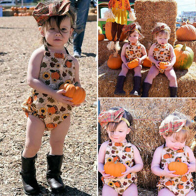 US Infant Baby Girl Thanksgiving Romper Bodysuit Jumpsuit Outfit Sunsuit Clothes