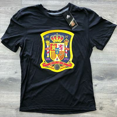Mens Adidas Black Spain Futbol Soccer Team Gift T-Shirt Tee Russia World Cup