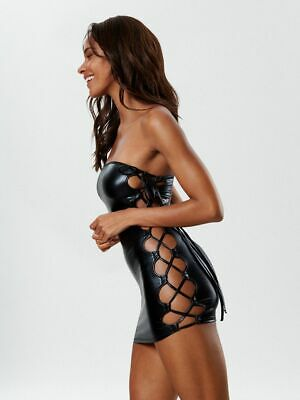 ANN SUMMERS WOMENS KAIDA LACE UP MINI DRESS SEXY COVER UP SLIP EROTIC CLOTHING