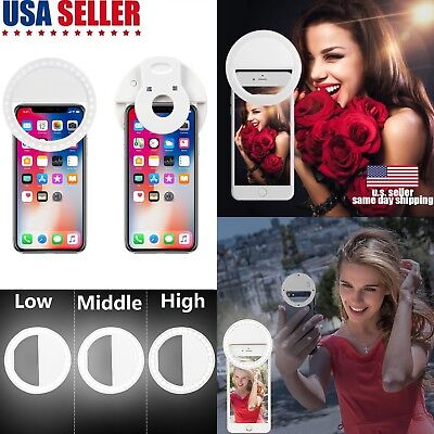 Rechargeable Portable Selfie LED Light Ring Fill Camera Flash iPhone Samsung Lot