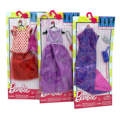 3-Pack Barbie Clothes Genuine Mattel  with Accessories Purses Headbands Etc-