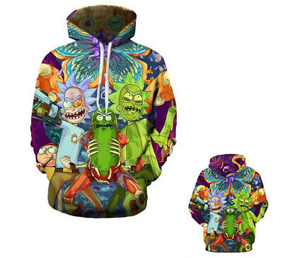 New Rick and Morty Hoodies Jacket Coat 3D Graphic Print Pocket Tops Pullover us