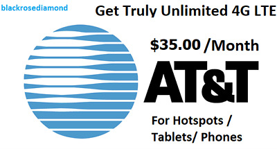 AT-T Unlimited Data 4G LTE Plan 29-99 a monthFor Hotspots  Tablets Phones