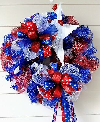 Patriotic Wreath Door Decor Fourth of July Independence Day Red White Blue Decor