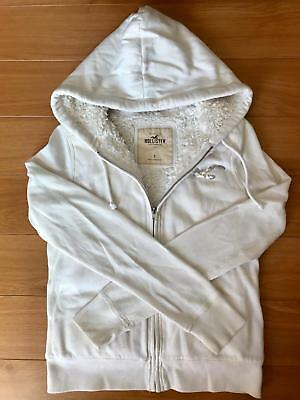 Womens Hollister Co Beige Faux Fur Lined Hoodie Zip Up Size Small