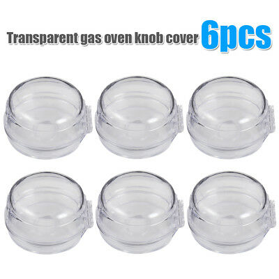 6x Clear View Safety Gas Stove Knob Covers Children Kids Baby Toddler Safe Guard