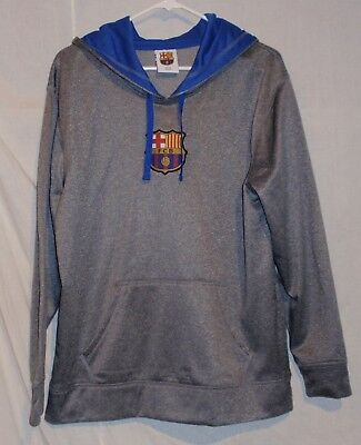 FC BARCELONA Soccer Team Pull Over Hoodie - Gray - Mens Size M