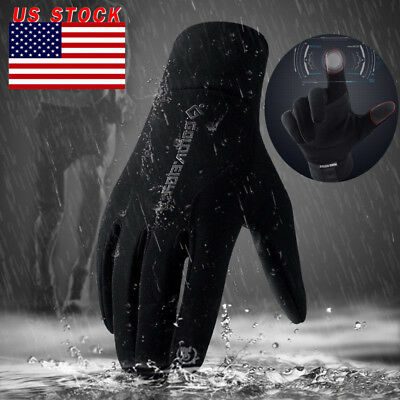 Men's Winter Insulated Genuine Black Leather Gloves Light Fleece Lining USA