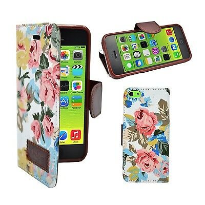 CASE FOR APPLE IPHONE 5C CLASSIC VINTAGE WALLET FLIP WHITE MULTI FLOWER COVER