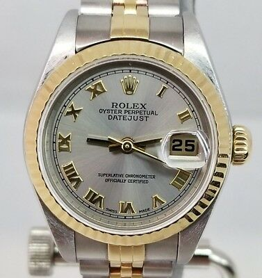 ROLEX LADIES DATEJUST 18KSS 2TONE 79173 JUBILEE BAND SLATE DIAL BOX PAPERS