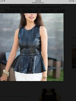 Zara Faux Leather Embroidered Peplum Top