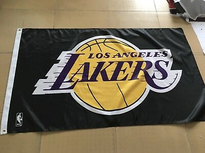 Los Angeles Lakers 3x5 Banner Flag Black Basketball NBA Grommets Lebron Kobe New