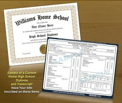 College University Home High School GED Custom Diploma - Transcript - Gold Seal
