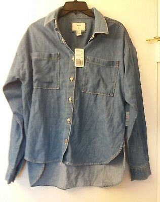 Forever 21 Denim button up shirt Womens Large NEW