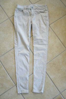GIRLS AMERICAN EAGLE OUTFITTERS SUPER STRETCH BEIGE JEGGING SIZE 2 REGULAR