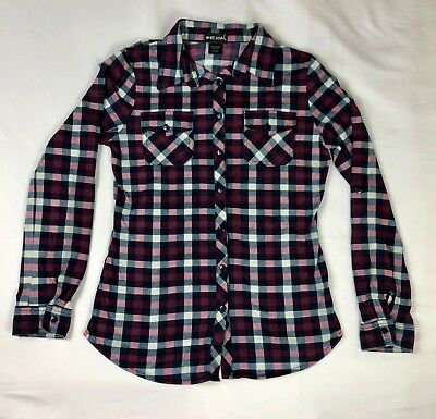 Wet Seal Plaid Size Small Womens Button Up Long Sleeve Shirt
