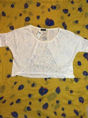 Wet Seal White Lace Crop Size XS