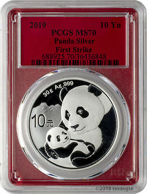 2019 10 Yuan China Silver Panda Coin 30 Gram -999 Silver PCGS MS70 FS - Red