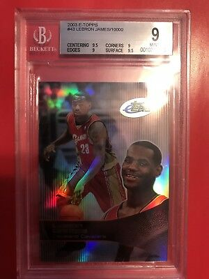 2003-04 eTopps Topps LeBron James Rookie Card RC GRADED BGS 9 10000 LAKERS CAVS