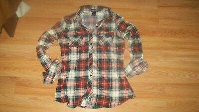 Wet Seal Red Blue  PlaidFlannel  button up Top Med