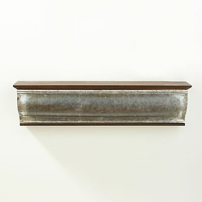 24 Wooden and Galvanized Metal Shelf -
