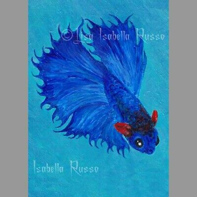 ACEO Betta Fish ART Blue Red by Lisa Isabella Russo Limited Edition LE Print 1st