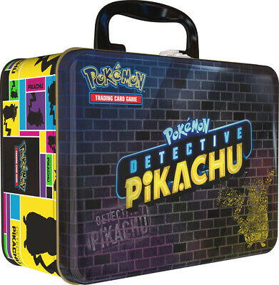 Pokemon TCG Detective Pikachu Collectors Chest Lunch Box 9 Booster Packs - Pin