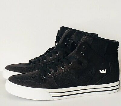 Supra Vaider Men's Black White High Tops Skate Shoes Sneakers 08204-033-M Sz 11