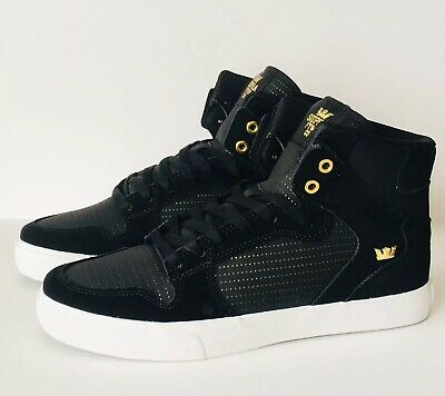 Supra Vaider Men's Black Gold High Tops Skate Shoes Sneakers 08206-015-M Sz 10