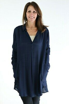 Joseph Ribkoff Solid Midnight Blue Relax Fit Flowing Tunic Top 182310 NEW