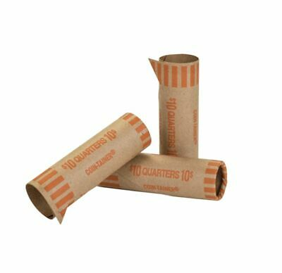 Coin-Tainer® Preformed Tubular Coin Wrappers Quarters Orange Box of 1000