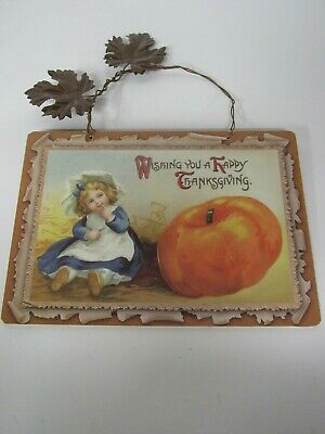 New Wooden Thanksgiving Sign With Metal Leaves Girl And Pumpkin X45218