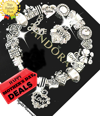 Authentic PANDORA Bracelet Silver with BEST MOM MOTHER DAY European Charms New