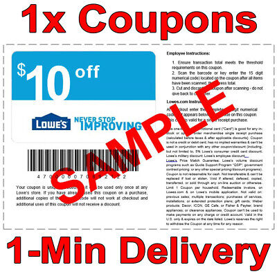 1x Lowes 10 OFF 50 INSTANT Discount Fastest DELIVERY-1COUPON INSTOREONLINE