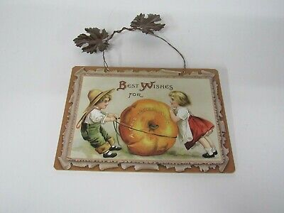 New Wooden Thanksgiving Sign With Metal Leaves Girl Boy Pumpkin X45218