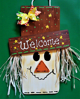FALL SCARECROW SIGN Halloween Thanksgiving Holiday Wall Door Wood Plaque Autumn