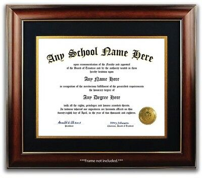 College University High School Personalized Diploma Degree w Gold Seal Novelty